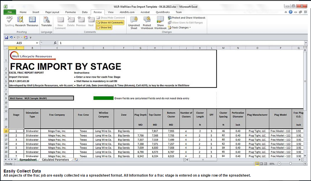 One, consolidated spreadsheet to collect your Frac Vendor Data